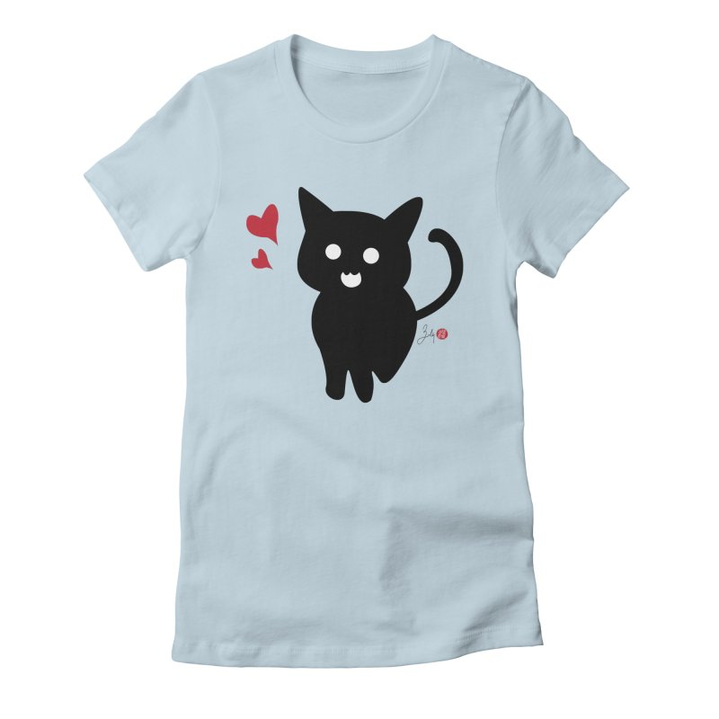 Cat Love With Hearts (Large) Women's Fitted T-Shirt by Designs by Billy Wan
