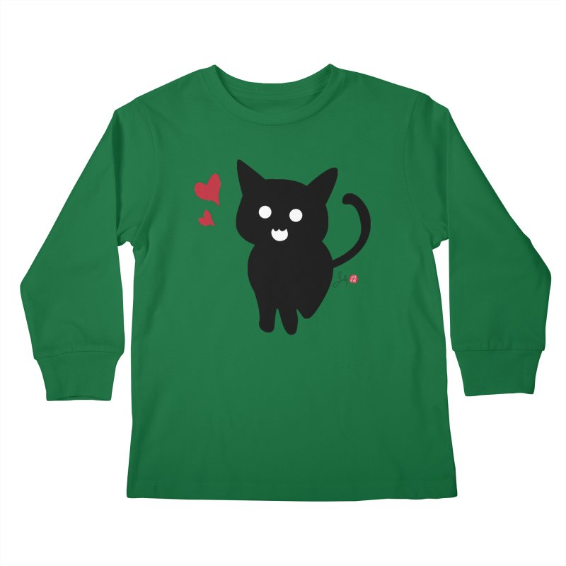 Cat Love With Hearts (Large) Kids Longsleeve T-Shirt by Designs by Billy Wan