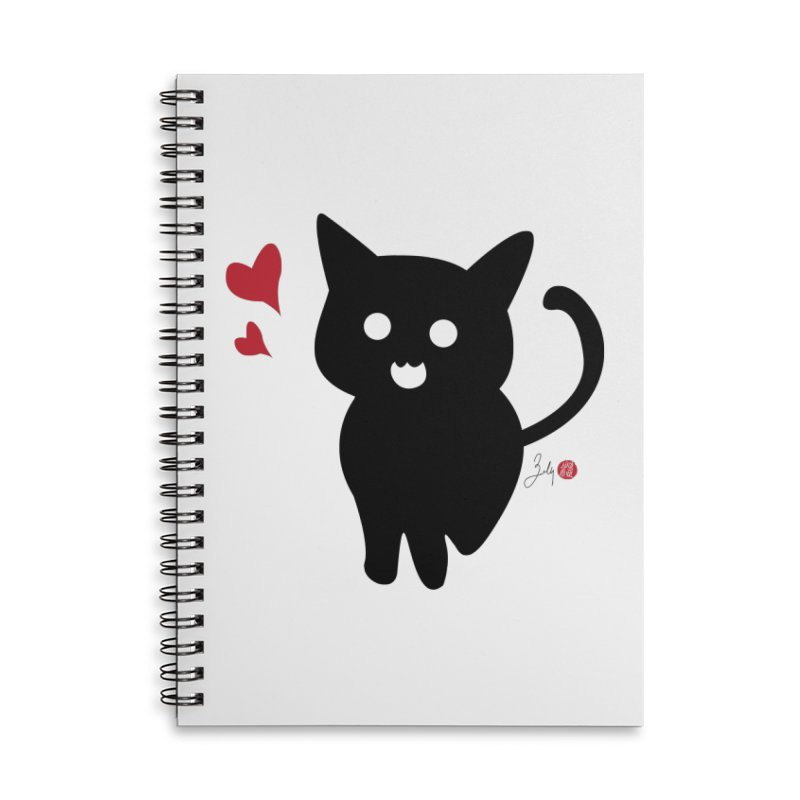 Cat Love With Hearts (Large) Accessories Lined Spiral Notebook by Designs by Billy Wan