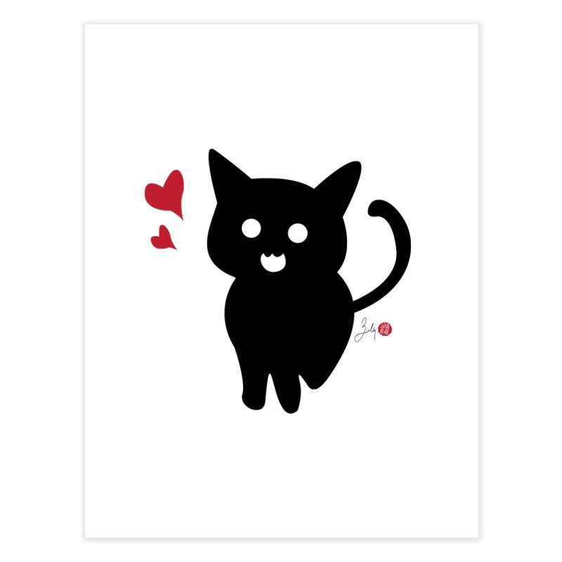 Cat Love With Hearts (Large) Home Fine Art Print by Designs by Billy Wan