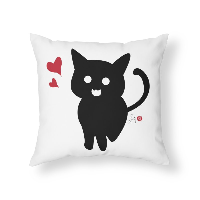 Cat Love With Hearts (Large) in Throw Pillow by Designs by Billy Wan