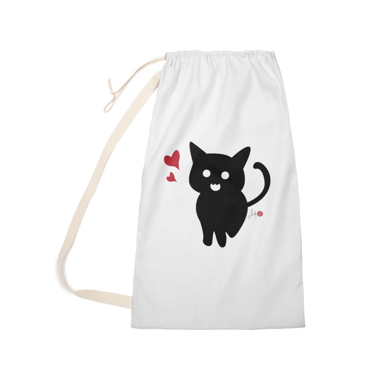 Cat Love With Hearts (Large) Accessories Laundry Bag Bag by Designs by Billy Wan