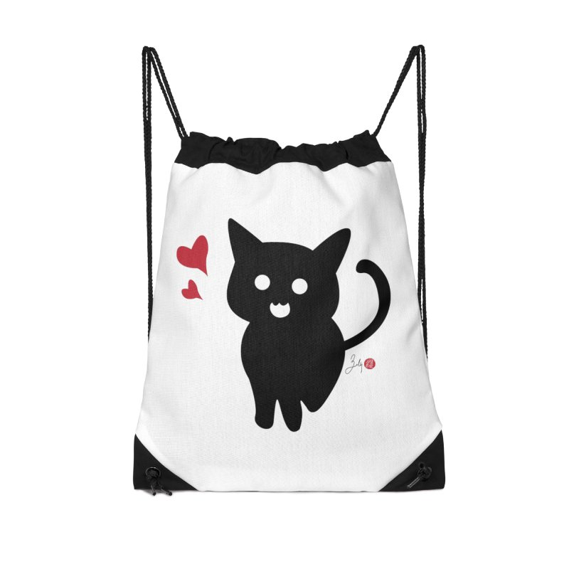 Cat Love With Hearts (Large) Accessories Drawstring Bag Bag by Designs by Billy Wan