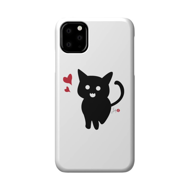 Cat Love With Hearts (Large) Accessories Phone Case by Designs by Billy Wan