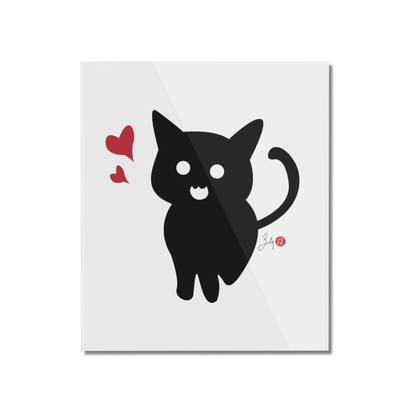 Cat Love With Hearts (Large) Home Mounted Acrylic Print by Designs by Billy Wan