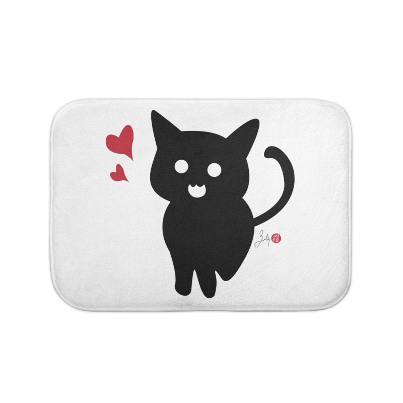 Cat Love With Hearts (Large) Home Bath Mat by Designs by Billy Wan