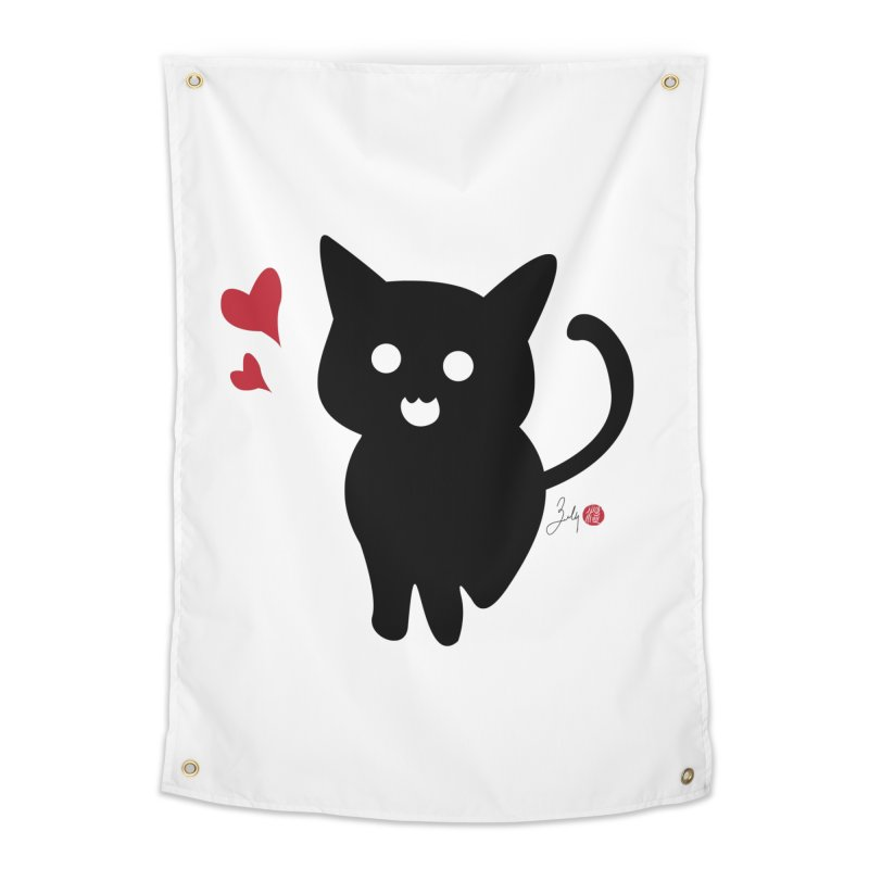 Cat Love With Hearts (Large) Home Tapestry by Designs by Billy Wan