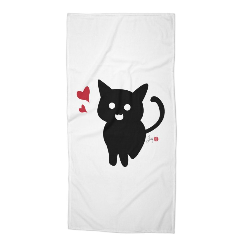 Cat Love With Hearts (Large) Accessories Beach Towel by Designs by Billy Wan
