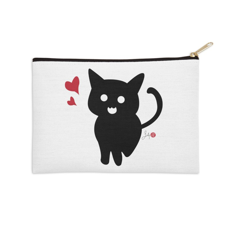 Cat Love With Hearts (Large) Accessories Zip Pouch by Designs by Billy Wan