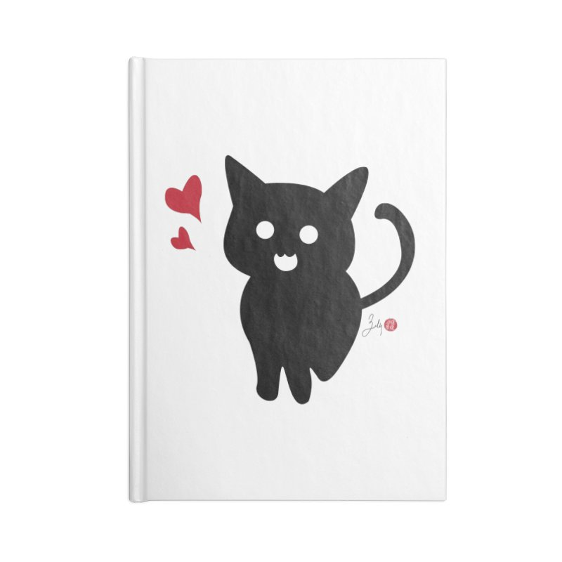 Cat Love With Hearts (Large) Accessories Blank Journal Notebook by Designs by Billy Wan