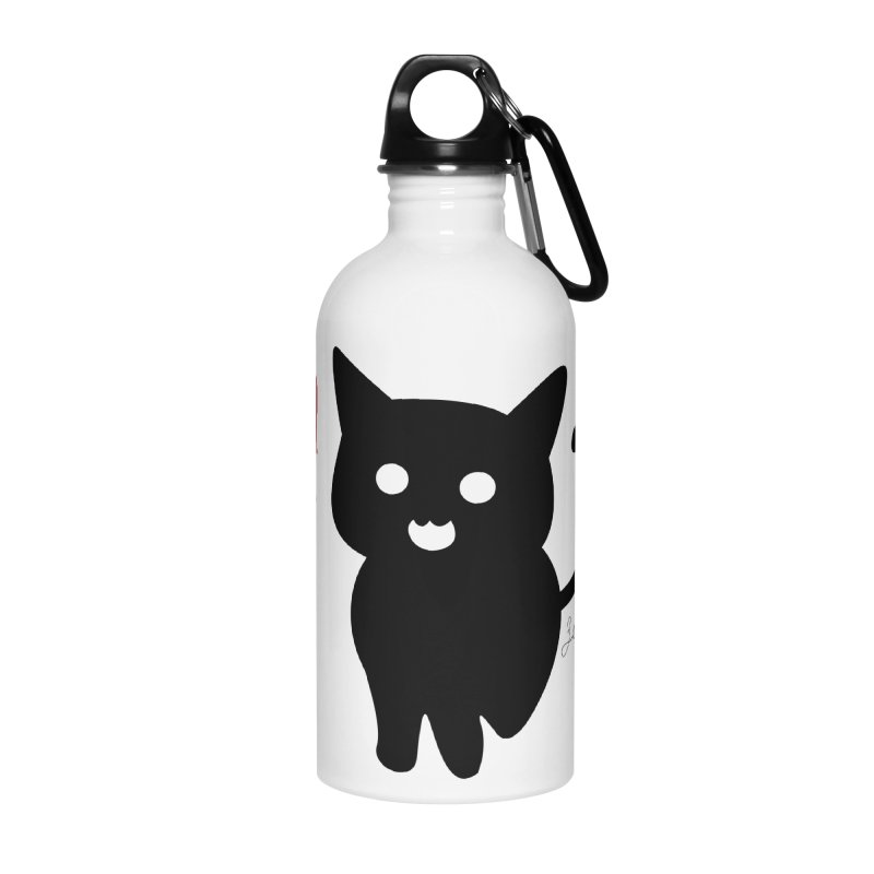 Cat Love With Hearts (Large) Accessories Water Bottle by Designs by Billy Wan