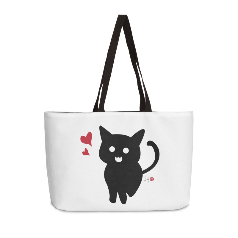 Cat Love With Hearts (Large) Accessories Weekender Bag Bag by Designs by Billy Wan