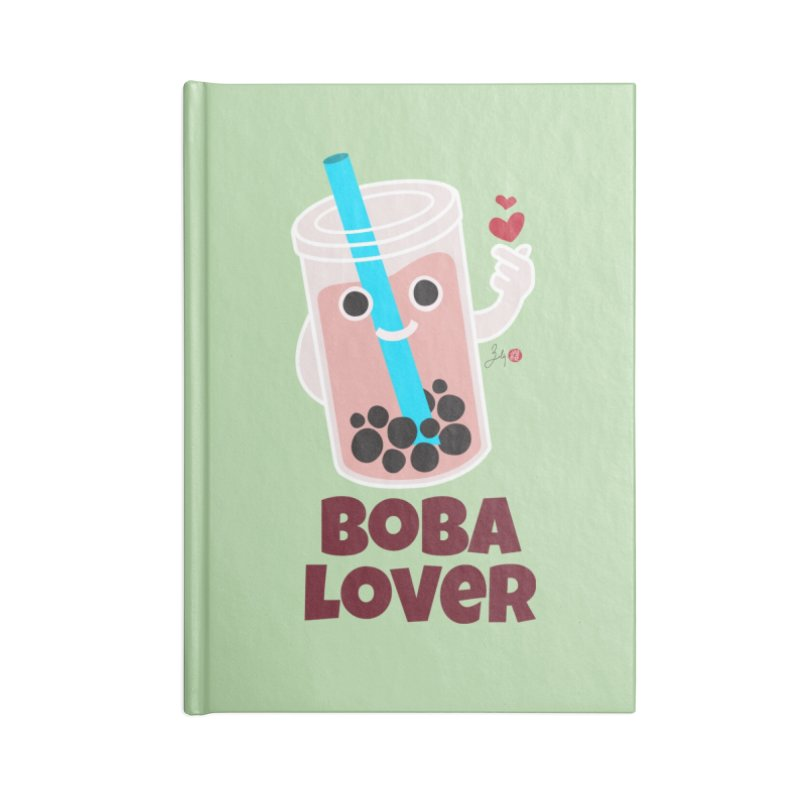 Boba Lover Accessories Lined Journal Notebook by Designs by Billy Wan