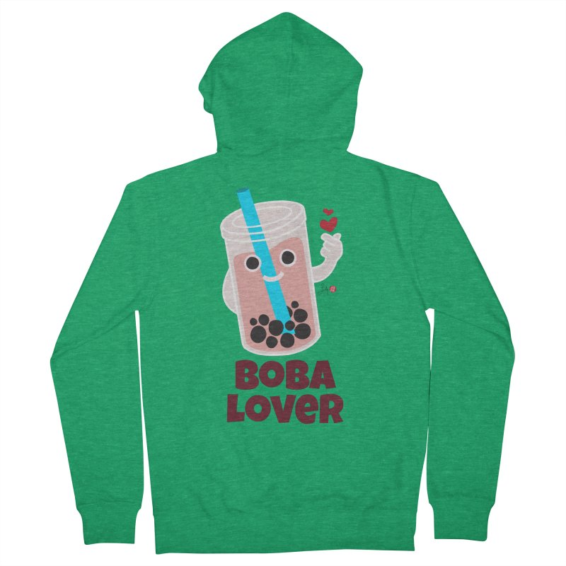 Boba Lover Men's French Terry Zip-Up Hoody by Designs by Billy Wan