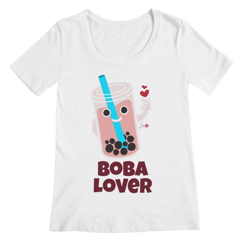 Boba Lover Women's Regular Scoop Neck by Designs by Billy Wan