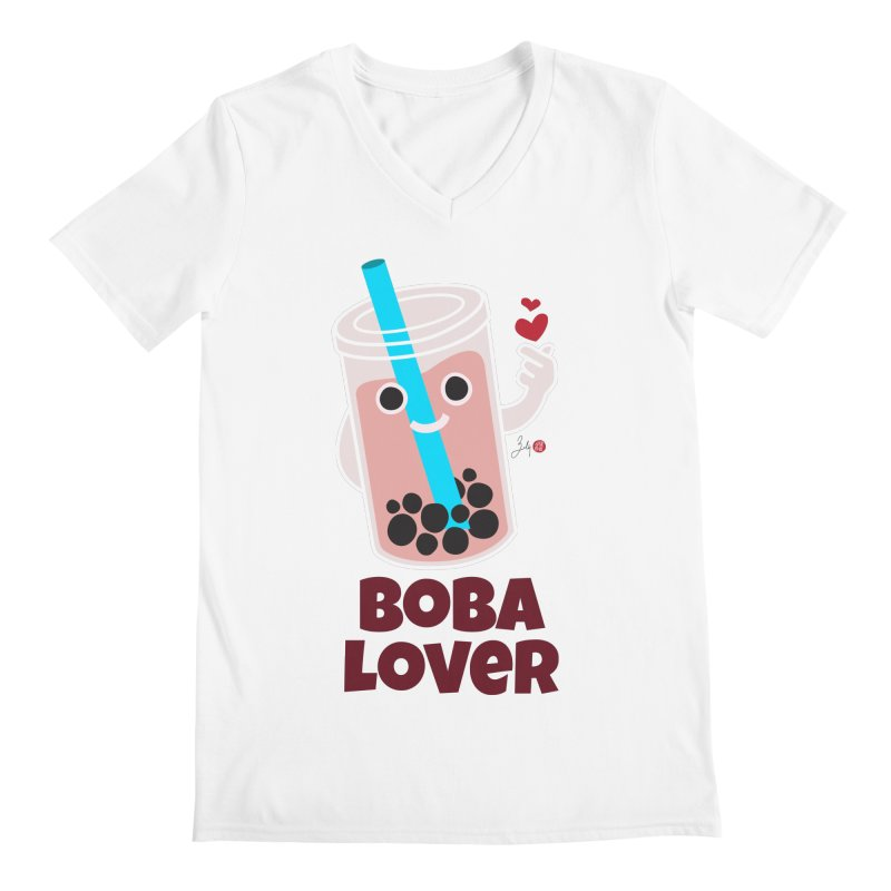 Boba Lover Men's Regular V-Neck by Designs by Billy Wan