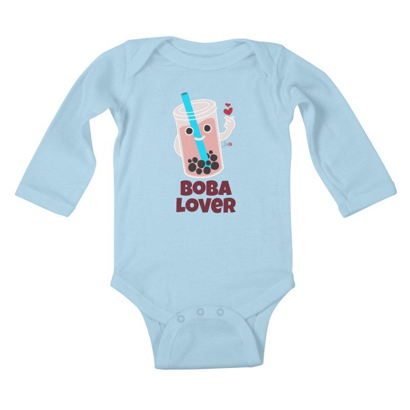 Boba Lover Kids Baby Longsleeve Bodysuit by Designs by Billy Wan