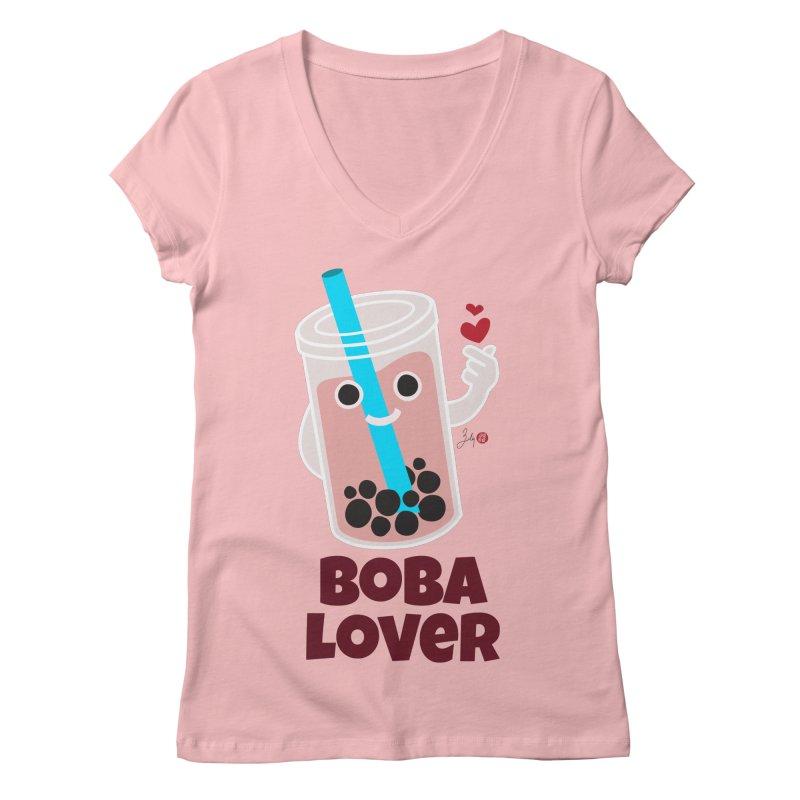 Boba Lover Women's Regular V-Neck by Designs by Billy Wan