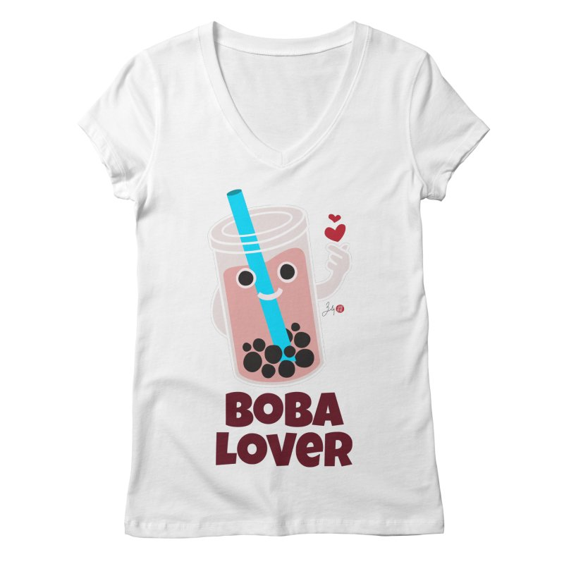 Boba Lover Women's Regular V-Neck by Designs by Billy Wan