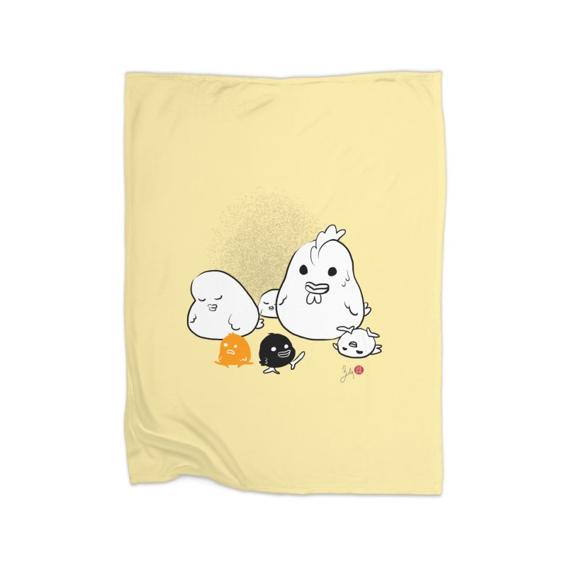 The Chicken Family Home Fleece Blanket Blanket by Designs by Billy Wan