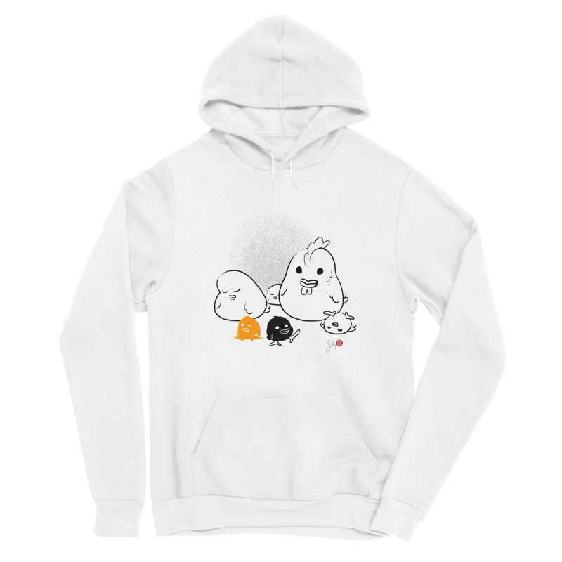The Chicken Family Men's Sponge Fleece Pullover Hoody by Designs by Billy Wan
