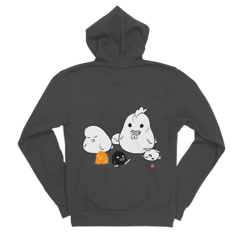 The Chicken Family Women's Sponge Fleece Zip-Up Hoody by Designs by Billy Wan
