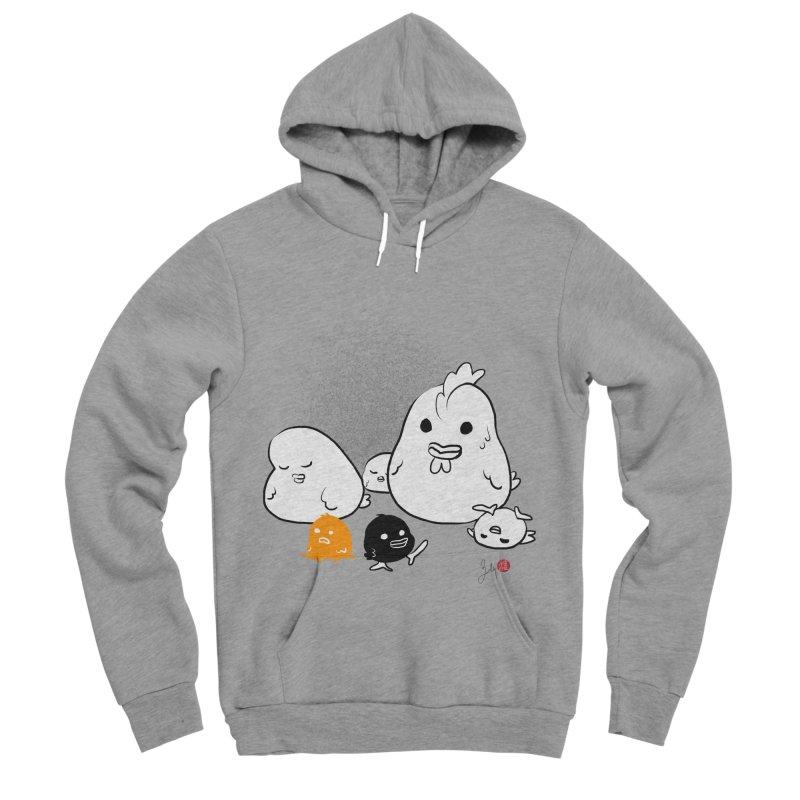 The Chicken Family Men's Sponge Fleece Pullover Hoody by Designs by Billy Wan