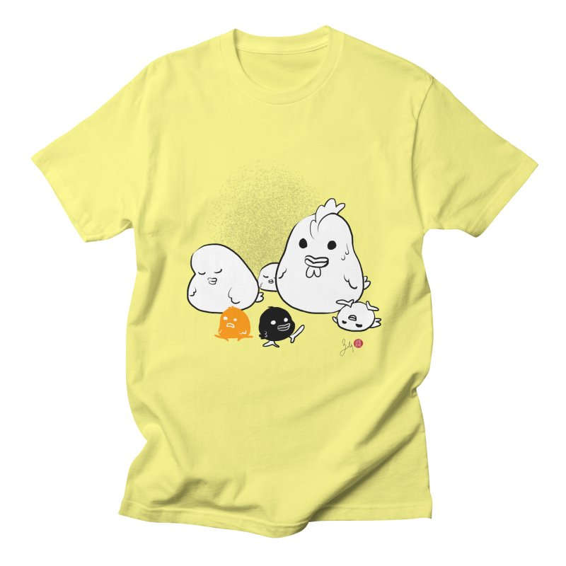 The Chicken Family in Men's Regular T-Shirt Lemon by Designs by Billy Wan