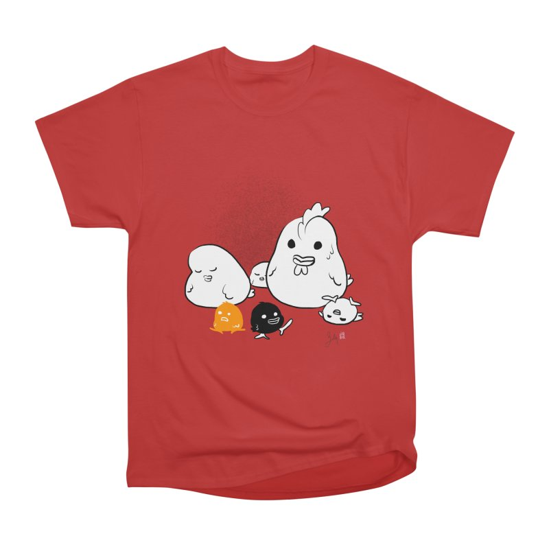 The Chicken Family Men's Heavyweight T-Shirt by Designs by Billy Wan