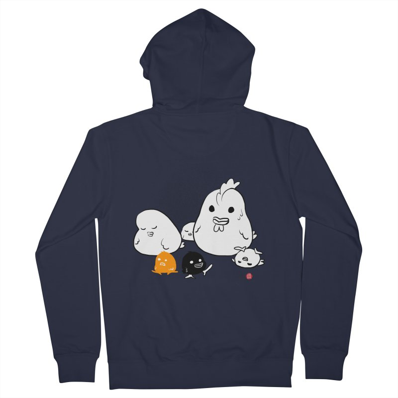 The Chicken Family Men's French Terry Zip-Up Hoody by Designs by Billy Wan