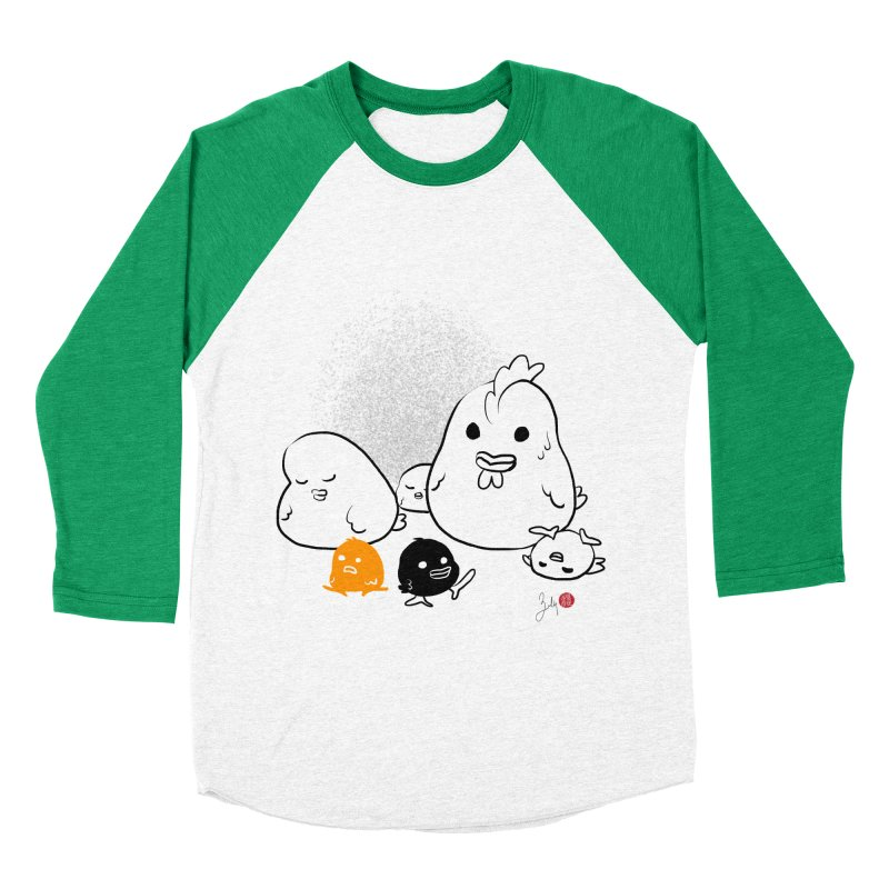 The Chicken Family Women's Baseball Triblend Longsleeve T-Shirt by Designs by Billy Wan