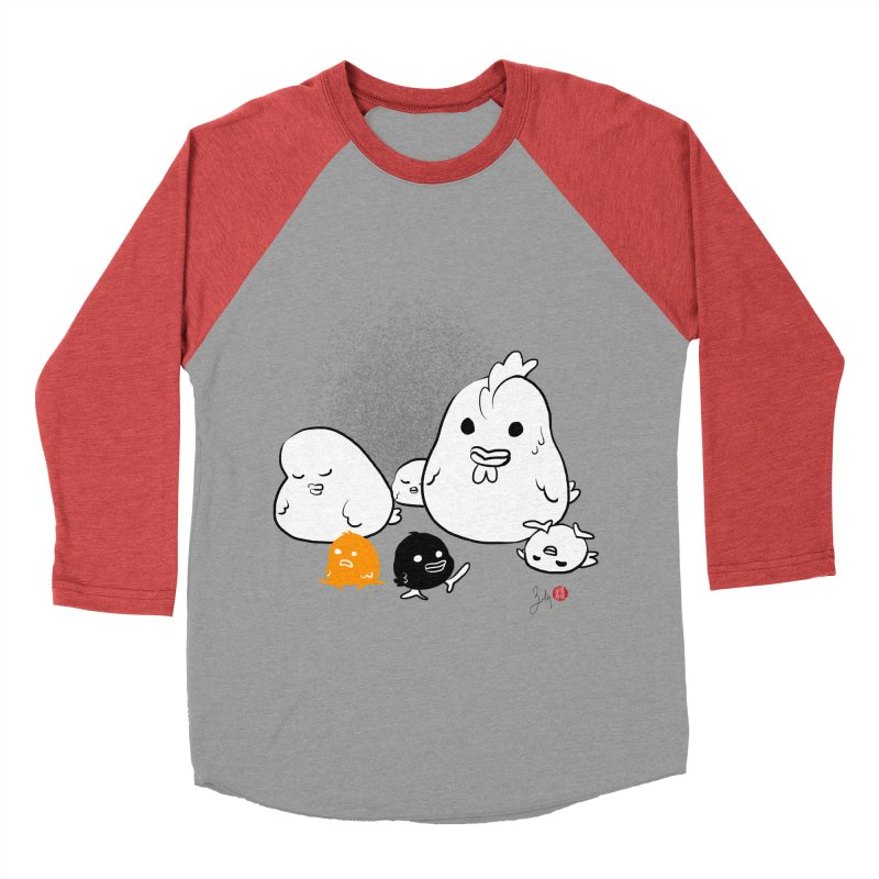 The Chicken Family Men's Baseball Triblend Longsleeve T-Shirt by Designs by Billy Wan
