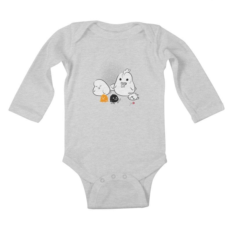 The Chicken Family Kids Baby Longsleeve Bodysuit by Designs by Billy Wan