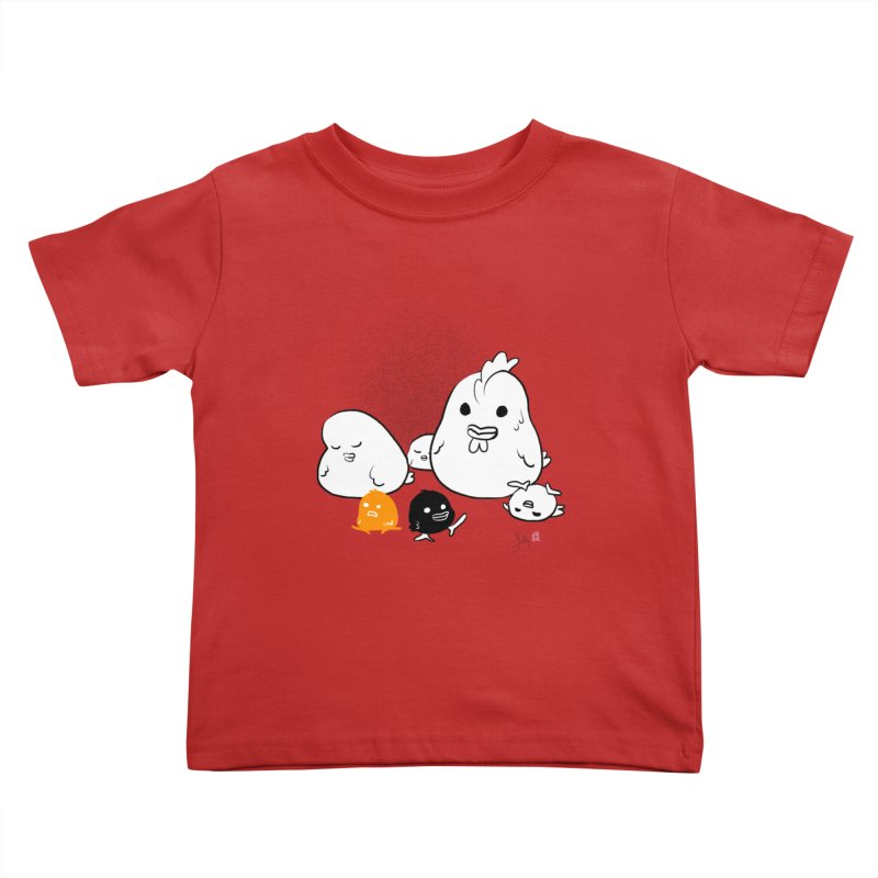 The Chicken Family Kids Toddler T-Shirt by Designs by Billy Wan