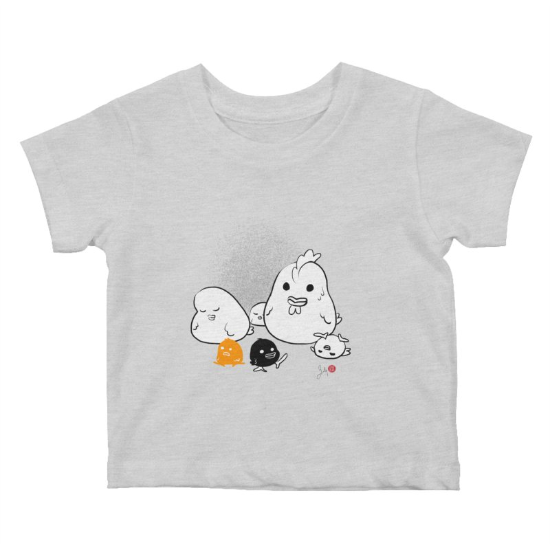 The Chicken Family Kids Baby T-Shirt by Designs by Billy Wan