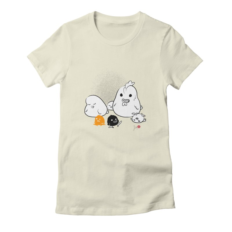 The Chicken Family in Women's Fitted T-Shirt Natural by Designs by Billy Wan