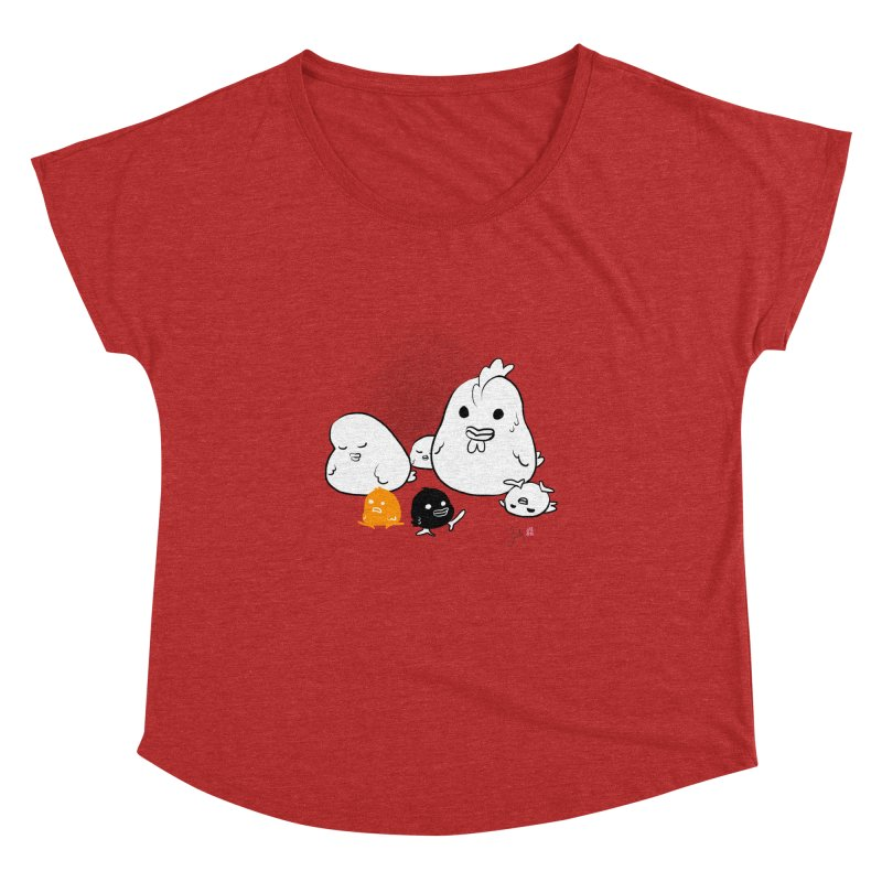 The Chicken Family Women's Dolman Scoop Neck by Designs by Billy Wan