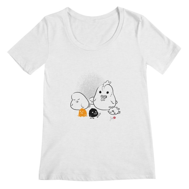 The Chicken Family Women's Regular Scoop Neck by Designs by Billy Wan