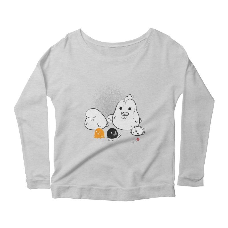 The Chicken Family Women's Scoop Neck Longsleeve T-Shirt by Designs by Billy Wan