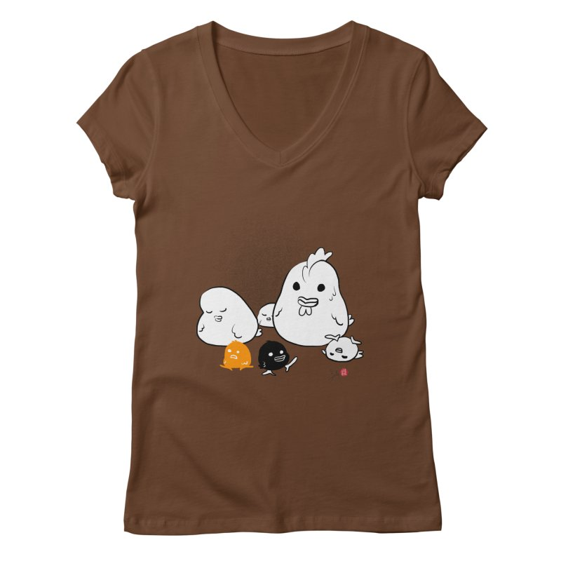 The Chicken Family Women's Regular V-Neck by Designs by Billy Wan