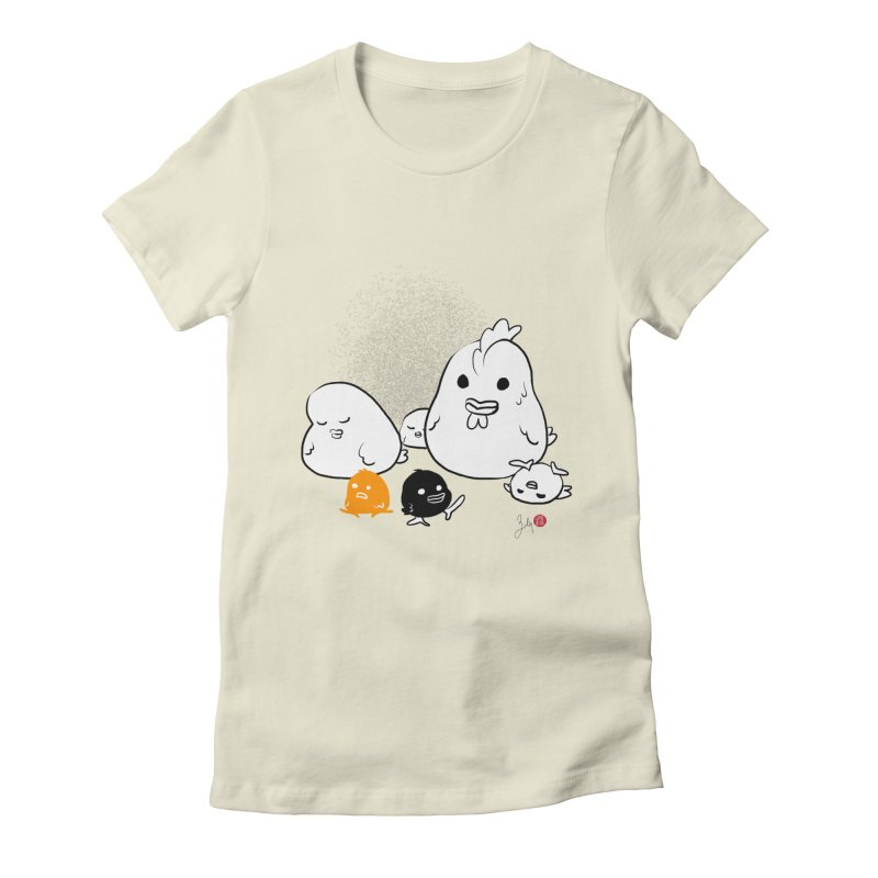 The Chicken Family Women's Fitted T-Shirt by Designs by Billy Wan