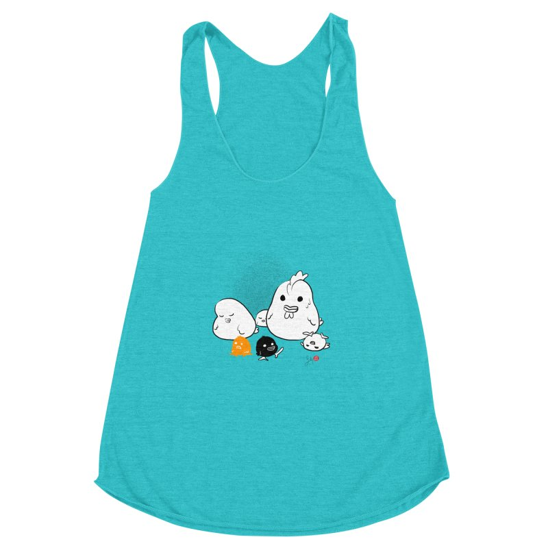 The Chicken Family Women's Racerback Triblend Tank by Designs by Billy Wan