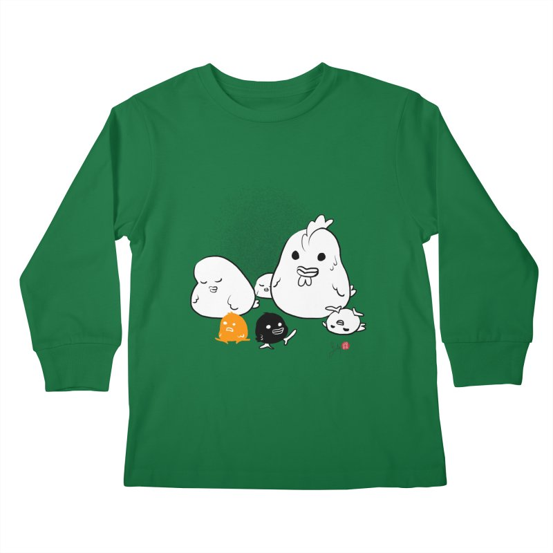 The Chicken Family Kids Longsleeve T-Shirt by Designs by Billy Wan