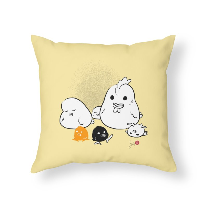 The Chicken Family Home Throw Pillow by Designs by Billy Wan