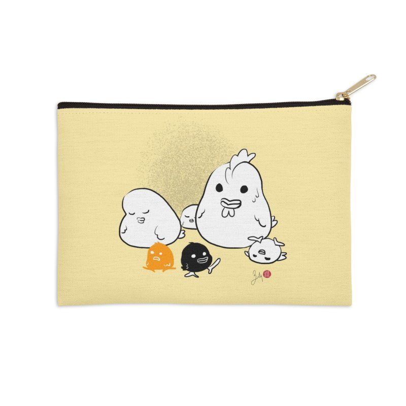 The Chicken Family Accessories Zip Pouch by Designs by Billy Wan