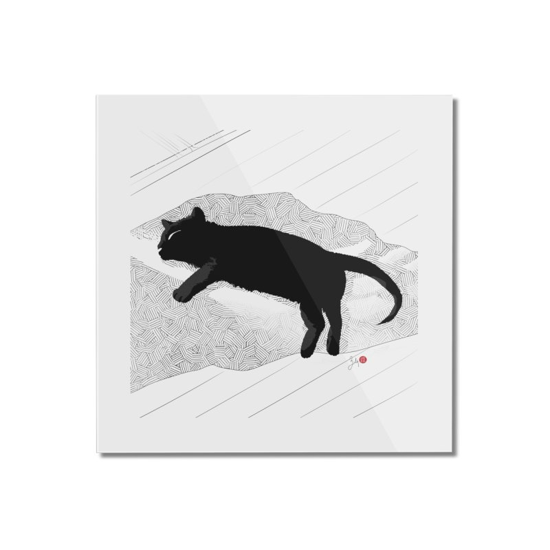 Lazy Cat in the Sun Home Mounted Acrylic Print by Designs by Billy Wan
