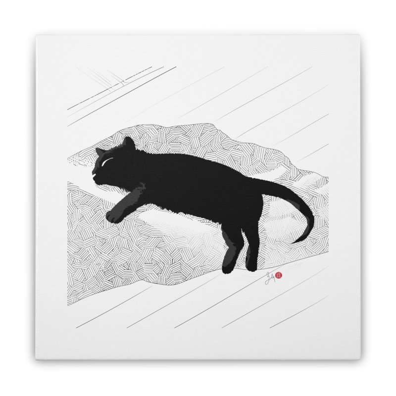 Lazy Cat in the Sun Home Stretched Canvas by Designs by Billy Wan