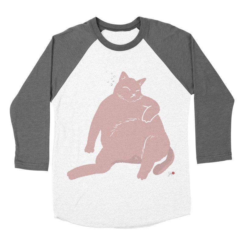 Fat Cat Women's Baseball Triblend Longsleeve T-Shirt by Designs by Billy Wan