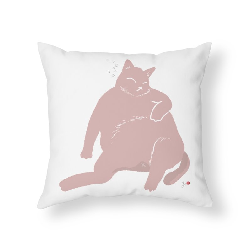 Fat Cat Home Throw Pillow by Designs by Billy Wan