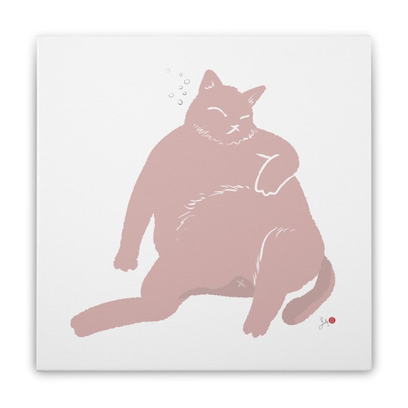 Fat Cat Home Stretched Canvas by Designs by Billy Wan